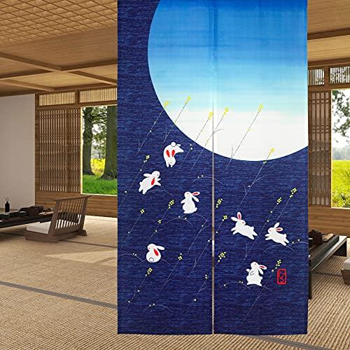 LIGICKY Cortina de Puerta Noren con Lindos Conejos Corriendo bajo la Luna, Estilo japonés para Puerta, Cortina divisora de habitación, 85 x 150 cm