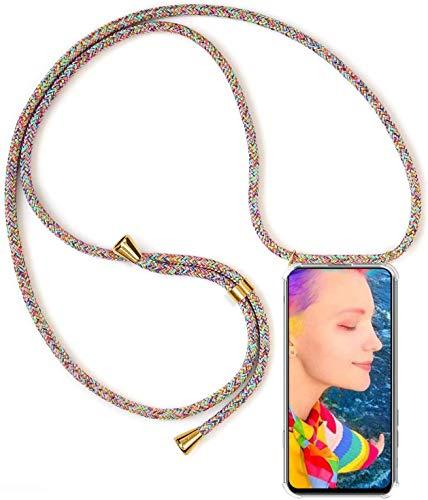 Mi-Case MiCase Funda con Cuerda para Xiaomi Xiaomi Mi MAX 2, Carcasa Transparente TPU Suave Silicona Correa Colgante Ajustable Collar Correa de Cuello Cadena Cordón - Arco Iris