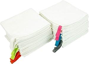 مناشف استحمام بيضاء مع حلقات ملونة من أركرايت - عبوة من 12 منشفة كبيرة للوجه للحمام في الفنادق والمنتجعات الصحية (6 ألوان،...