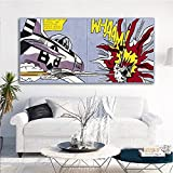 YRZYT Roy Lichtenstein Poster AvióN Bombardero Comic Poster Roy Lichtenstein Pared Arte Pop Cuadro ExposicióN De La Lona Cuadros Famosos Pintura Chico Dormitorio Decoracion