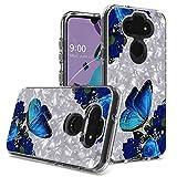 CELZEN - für LG Aristo 5, Tribute Monarch, Fortune 3, Phoenix 5, Risio 4, K31, K8X - geprägtes Bild Handyhülle - AC6 Blue Butterfly