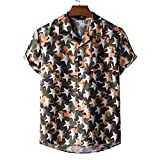 T-Shirt Hombre Transpirable con Cuello En V Estampado Moda Hombres Shirt Ocio Bolsillos Verano Botón Tapeta Manga Corta Hombres Shirt Playa Personalidad Hawaii Hombres Shirt L-XH45 M