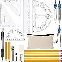 21ピース 幾何学コンパスセット 数学スクールセット 定規 コンパス 数学セット 正方形 分度器 シャープペンシル 消しゴム 芯 鉛筆バッグ