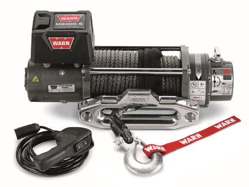 "WARN 87800 M8000-S Series Electric 12V Winch with Synthetic Rope: 3/8"" Diameter x 100' Length, 4 Ton (8,000 lb) Pulling Capacity"