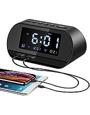 Aitsite Radio Despertador, FM Digital Radio Reloj Despertadores con Doble Puerto de Carga USB, Alarma doble con 5 Sonidos de Alarma, 10 Mins Snooze, 6 Brillos, Termómetro, 12/24 H, Batería de respaldo