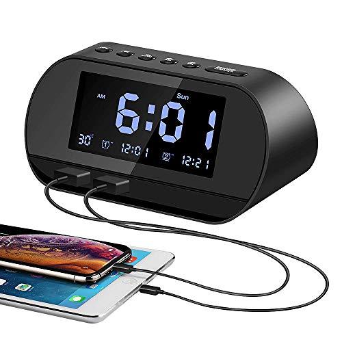 Aitsite Reloj Despertador Radio Despertador,Radiodespertadores con Doble Puerto de Carga USB Batería de Litio Incorporada Espera Larga 10 Mins Snooze, 6 Brillos, Termómetro, 12/24 H