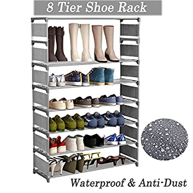 Homevol 8 Tiers Shoe Rack, Nonwoven Fabric Free Standing Shoe Racks Shoes Organizer - Holds 32 Pairs of Shoes (Grey)