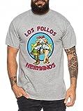 WhyKiki Los Pollos Camiseta de Hombre Hermanos Bad Heisenberg Breaking, Farbe2:Dunkelgrau Meliert;Größe2:M