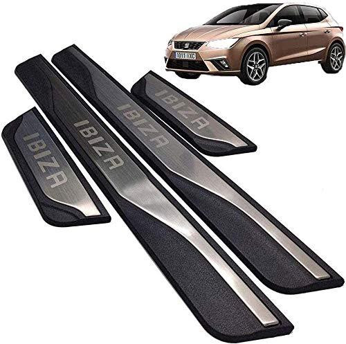 Placas de protección de umbral de puerta, para Seat Ibiza FR TGI 2015-2020 Protector de umbral de puerta, Alféizares de puerta exterior antirrayas antideslizantes de acero inoxidable de 4 piezas