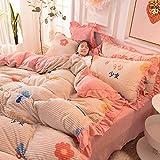 Ropa de Cama Juego de Cuatro Piezas Sábanas Funda de Almohada Funda de Almohada Dormitorio Infantil Niñas Padres Niño Simple Fresco Lindo Estampado Textiles para el hogar King Size 200 * 230