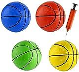 Mini juguete de repuesto colorido para niños pequeños de 6 pulgadas de juguete de baloncesto de goma para niños, pelotas de baloncesto adolescentes (5 piezas con 1 bomba de aire)