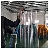 Outdoor Clear Tarp Curtain with Eyelets PVC Heavy Duty Waterproof Tarpaulin Panel Weather Resistant Partition Curtain For Gazebos Balcony Curtains (Color : Clear Size : 2.8x2.8n)