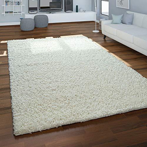 Paco Home Hochflor-Teppich, Shaggy Für Wohnzimmer, Weich Flauschig Strapazierfähig Robust, Grösse:160x220 cm, Farbe:Creme