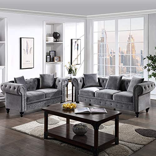 2 Pieces Living Room Sofa Set, Couch Furniture Button Tufted Velvet Upholstered Sofa Low Back, Roll Arm Classic Chesterfield Settee with 5 Pillows for Living Room, Office (Gray, 2 Seat+3 Seat)