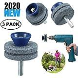 芝刈り機用ブレードシャープナー、パワードリル/ハンドドリル用、使いやすくダメージが少ない2層砥石、3パック