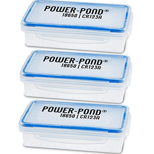 Power-Pond 3X Aufbewahrungsbox für 2X 18650 Li Io Zellen für geschützte (PCB) Akkus · Staub- und Spritzwassergeschützt Transparent
