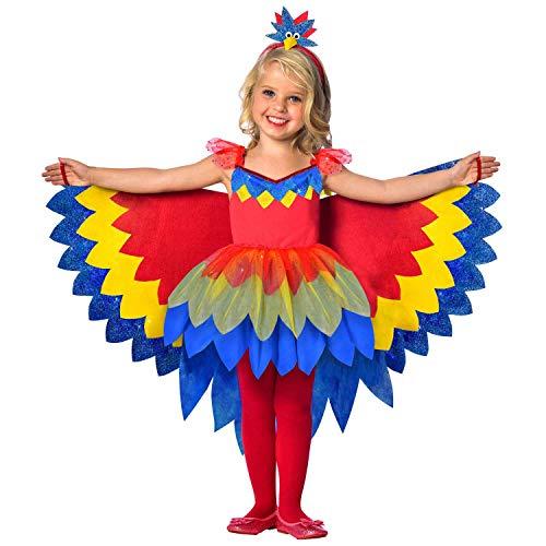 Amscan 9903518 - Kinderkostüm Papageien Fee, Kleid mit Tüll Rock und Flügeln, Haarreif, Tier