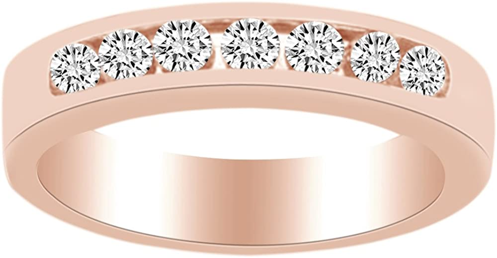0.38 carat White Natural Diamond Anniversary Band Ring in 14k Solid Gold