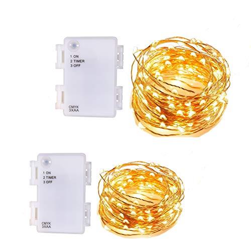 CMYK, 2 Stück 60 LED Kupferdraht Lichterkette wasserdichte Batteriebox mit Timing-Design, 3000K Warmweiß Stimmungslichter Lichterkette für Garten, Haus, Weihnachtsdekoration
