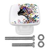 [4 unidades] Tirador de cajón de cristal con tornillos para el hogar, oficina, armario, armario, armario, niña, mariposa, flores