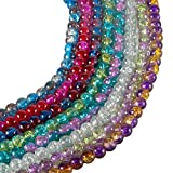 Deoot 400 PCS Glass Beads 8mm Handcrafted Crackle Lampwork Round Beads for Jewelry Making,8 Colors