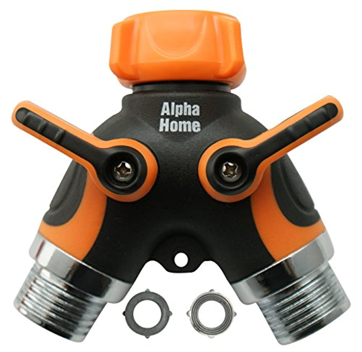 AHP 2-Way Garden Hose Connector Y Valve Splitter with Arthritis friendly Comfort Grip and 2 (+1) Rubber Washers - Fits Outdoor Faucets, Sprinkler & Drip Irrigation Systems