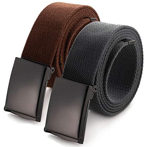 Zugeschnittener Gürtel aus Leinen, Größe bis 132 cm, mit Flip-Top, einfarbige schwarze Militärschnalle (16 Farben und Kombinations-Pack-Optionen)