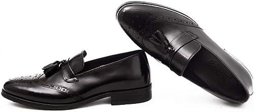 FLYSXP schuhe de Boda de Cuero para herren schuhe con Cordones de Encaje Formal schuhe Oxford de Vestir de PU 37-44 Yardas Stiefel de Cuero de los herren (Farbe   schwarz, Größe   41 EU)