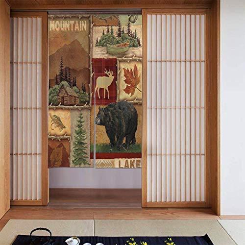 Cortina rústica para puerta de ciervo, diseño de oso de alce, impresión en 3D, para colgar ventanas, cortina de oscurecimiento del hogar, con bolsillo para barra para puerta francesa