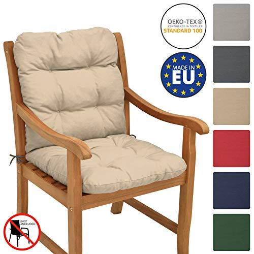Beautissu Cojín para sillas de balcón Flair NL - Cojín para Asiento Exterior con Respaldo bajo - 100x50x8 cm - Relleno de Copos de gomaespuma - Natural