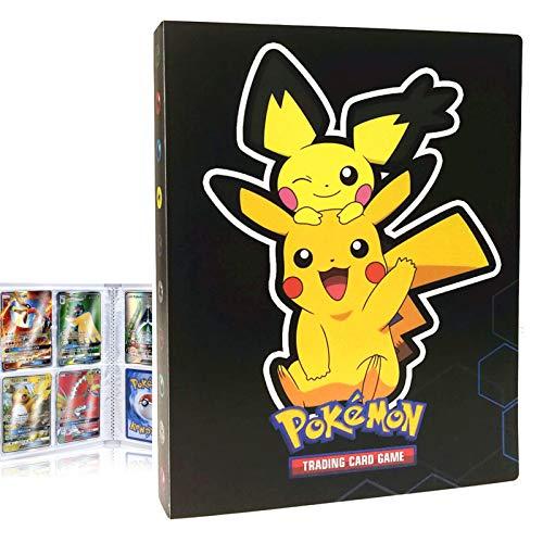 Album Compatible con Cartas Pokemon, Album Cartas Carpeta Cartas Compatible con Pokemon GX, Álbum de Cartas coleccionables de Pokémon, Capacidad para 30 páginas 240 Cartas (KL Pikachu)