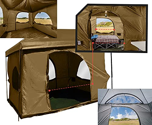 Standing Room Family Cabin Tent 8.5 FEET of Head Room 2 or 4 Big Screen Doors Fast Easy Set Up Full Waterproof Fabric Ceiling NOT Leaky MESH Screen Full TUB Style Floor Canopy Frame NOT Included