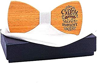 Asskanaer Men's Wooden Bow Tie Handmade Wood Bowtie With Matching Pocket Square Sets With Gift Box (Color : E, Size : M362)