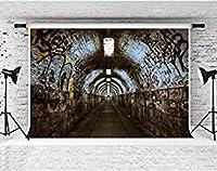 ZPC写真グラフィティトンネル背景神秘的な床写真背景肖像写真ブース小道具綿7x5ft