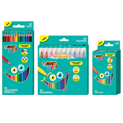 BIC Kids Coloring Combo Pack with Coloring Jumbo Markers, Pencils and Crayons, 46-Count, Assorted