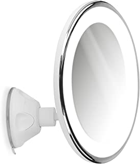Navaris Espejo de Aumento x7 con luz - Espejo con Ventosa e iluminación LED - Giratorio y Ajustable 360° - Espejo de Maquillaje y depilación