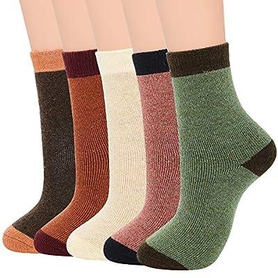 Womens Winter Socks Wool Warm Athletic Crew Long Fall Socks Thick Indoor Socks Hiking Sports Socks E (5 Pack LightColor)