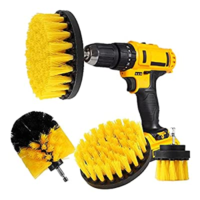 CLEANZOID Drill Brush Set Attachment Kit Pack of 3 - All Purpose Power Scrubber Cleaning Set for Grout, Tiles, Sinks, Bathtub, Bathroom and Kitchen Surface (Yellow)