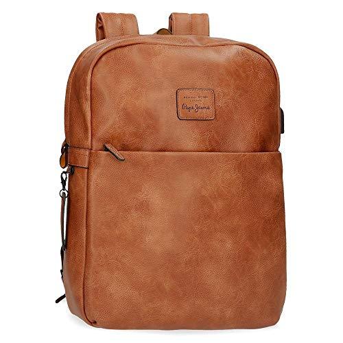Pepe Jeans Vegan Anpassbarer Laptop-Rucksack Braun 30x40x9 cms Synthetisches Leder 14
