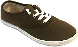 Easy USA Womens Lace up Canvas Plimsol Sneakers Shoes Brown 11