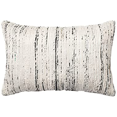 Loloi DSET DSETP0242SIMLPIL5 Mostly Cotton & Silk Cover with Down Fill Decorative Accent Pillow, 13  x 21 , Silver/Multicolor