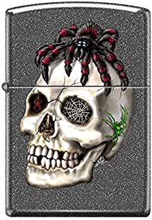Zippo Custom Design Spider on Skull Reg Iron Stone Matte Windproof Collectible Lighter. Made in USA Limited Edition & Rare