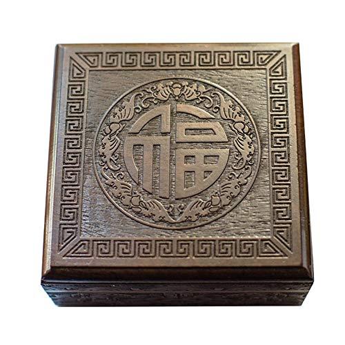 Storage LJF Caja de Pulsera Pulseras de Madera de ébano Joyero Jade Jade Beads Caja de Regalo Retro Chino Almacenamiento-9.18