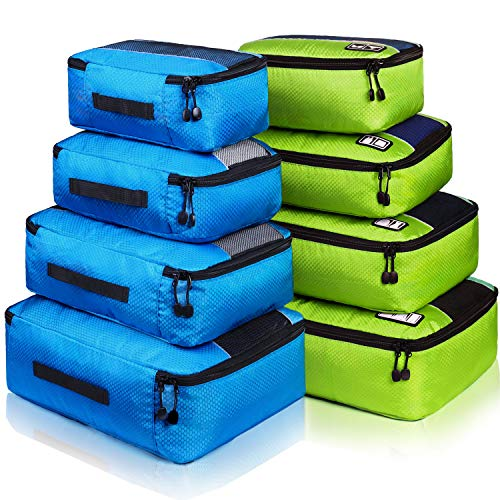 8 Set Packing Cubes, Travel Luggage Bags Organizers Mixed Color Set (Blue Green)