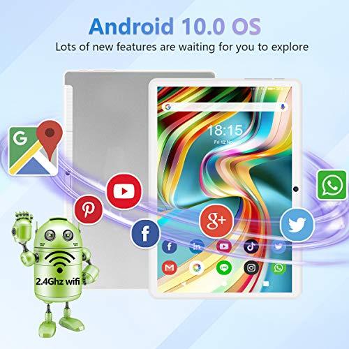 Tablet 10 Zoll Android 10.0, 5G WiFi Google Tablet Pad, 32GB ROM erweiterbar bis zu 128GB, Octa-Core-Prozessor, 13MP & 5MP Kamera, 1920 x 1200 IPS FHD-Display, GPS WiFi Buletooth OTG Silver&Weiss