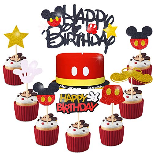 Mickey Mouse Cupcake Cake Toppers Mickey Decoración para Niños Cumpleaños Baby Shower Mickey Clubhouse Suministros Micky Party Supplies 25PCS Topper