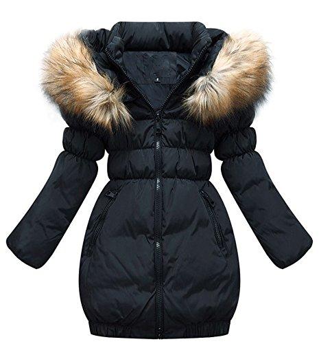 SMITHROAD Kinder Mädchen Winterjacke mit Kunstpelz Tailliert Lang Jacket Wintermantel Parka Oberbekleidung,Schwarz,EU 152-160,Herstellergröße 160