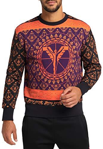 Carlo Colucci Herren Sweatshirt mit Logo, Schwarz Schwarz M