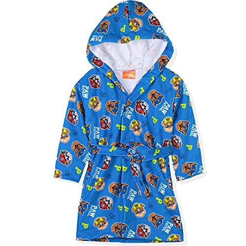 Paw Patrol - Albornoz con capucha para niña (microfibra, secado rápido, 2-8 años), Azul – Chase, Marshall, Rubble Pattern, 3-4 Years