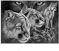 3000ピース木製パズル-動物の黒と白のライオンパズル3000ピース
